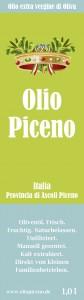 Olio Piceno Flaschen-Etikett Vorderseite