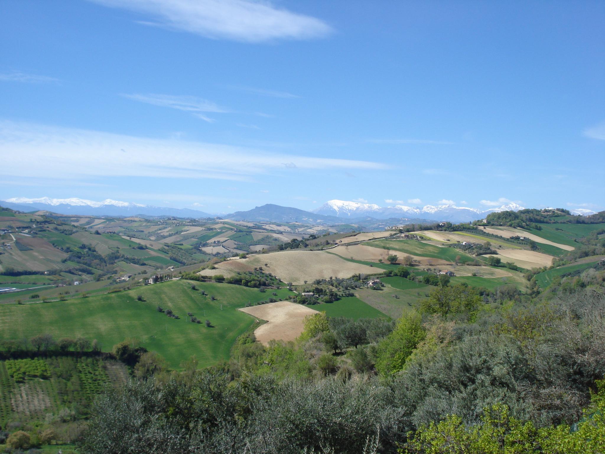 Blick von Massignano zu den Schnee bedeckten Monti Sibillini