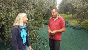 Tiziano verrät Heidi Rauch sein Olivenfliegen-Bekämpfungs-Geheimnis.