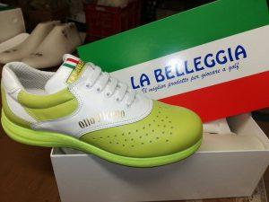 Unsere Olio Piceno-Schuhe in unseren Farben mitsamt Schriftzug made in Bella Italia!