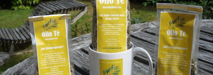 Olivenblättertee mit passender Tasse Olio Tè