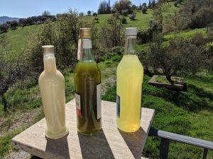 Limoncello und Olivenlikör verkaufen wir. Der Eierlikör ist nur für uns!